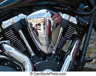 Motorcycle bike chrome engine details