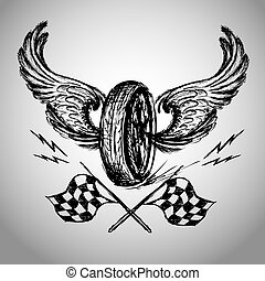 Motorcycle bike label with wings, flames and flag vector...