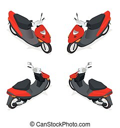 Motorcycle, bike, motorbike, scooter. Flat 3d isometric high...