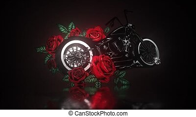 motorcycle bike with roses and peonies, card frame video