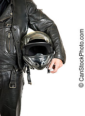 biker - motorcycle biker with helmet closeup on a white