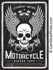 Motorcycle bikers festival vector grungy poster