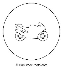 Motorcycle black icon in circle vector illustration isolated...