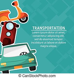 Motorcycle car transportation vehicle travel, vector