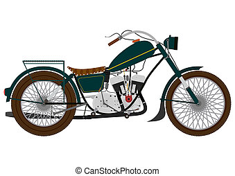 Motorcycle - Cartoon vintage motorcycle on a white...