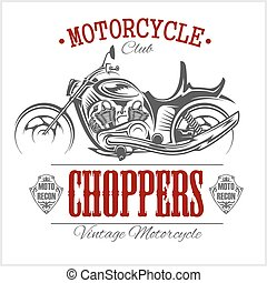 Motorcycle Chopper logo. Vector vintage garage logotype....