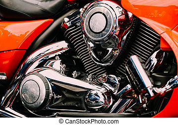 Motorcycle Chrome Engine Block Closeup
