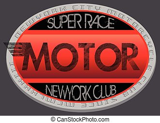 Motorcycle club new york illustration ,racing, motorcycle ,vintage ,retro, t-shirt rider