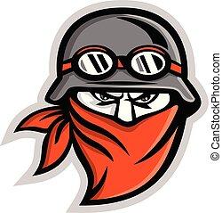 Motorcycle Club Outlaw Rider Wearing Bandanna Mascot -...