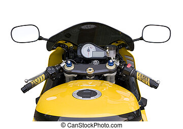 A drivers view of the cockpit in a modern motorcycle.