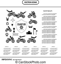 motorcycle competition championship icon set
