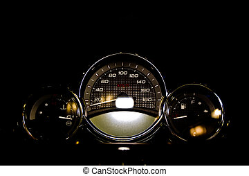Motorcycle Control Panel on the black background