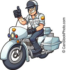 Motorcycle cop - Cartoon motorcycle cop. Vector clip art...