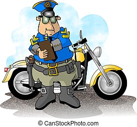 This illustration depicts a motorcycle cop and his service cycle.