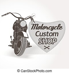Motorcycle custom motor shop emblem. Vector