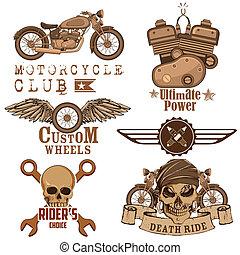 Motorcycle Design Element - illustration of vintage...