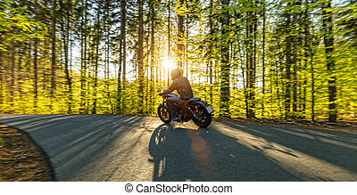 Motorcycle driver in forest