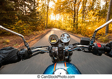 Motorcycle driver riding in autumn forest
