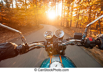Motorcycle driver riding in spring forest.