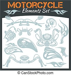 Motorcycle elements vector set.