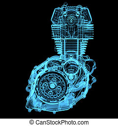 Motorcycle engine (3D x-ray blue transparent isolated on black)