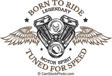 Motorcycle engine and wings. - Motorcycle engine and wings...