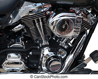 Motorcycle engine close-up - Closeup of a big shiny...