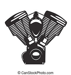 Motorcycle engine emblem in monochrome silhouette style, for...