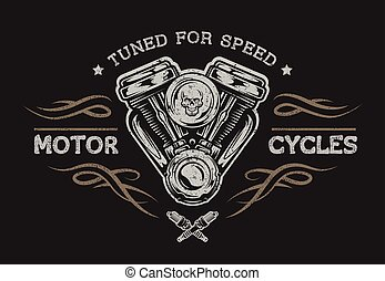 Motorcycle engine in vintage style. Emblem, symbol, t-shirt ...