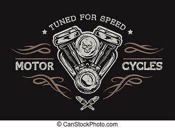 Motorcycle engine in vintage style. Emblem, symbol, t-shirt graphic. For dark background.