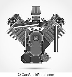 Motorcycle engine. Vector