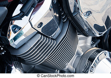 Motorcycle engine with chrome details, close-up