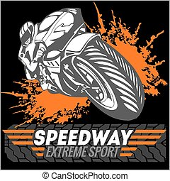 Motorcycle - extreme sport. Vector Emblem. - Motorcycle -...