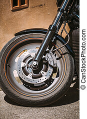 Motorcycle Front wheel close up