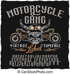 Motorcycle Gang Label Typeface Poster - Motorcycle gang...