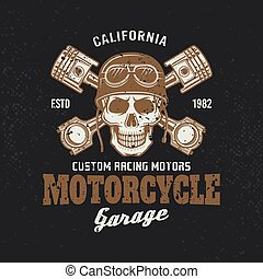 Motorcycle garage biker vintage emblem with skull