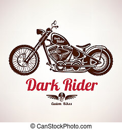 motorcycle grunge vector silhouette, retro emblem and label