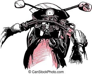 Motorcycle handlebars. An hand drawn vector, freehand drawing.
