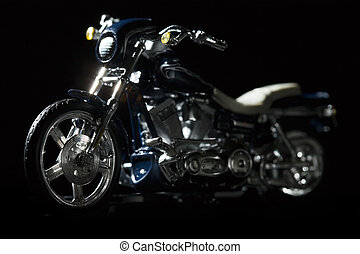 Motorcycle - Harley motocycle on dark black background as if...