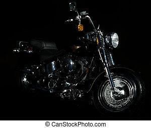 Motorcycle - Harley motocycle on dark black background