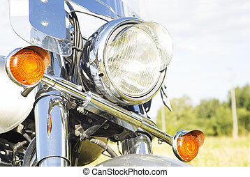 Motorcycle headlight close-up outdoor. - Motorcycle...