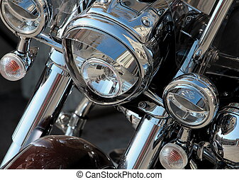 motorcycle headlights - Motorcycle headlights close-up...