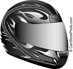 Motorcycle helmet - A motorcycle helmet in black and gray.
