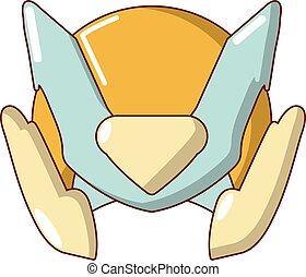 Motorcycle helmet design icon, cartoon style