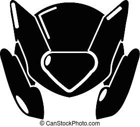 Motorcycle helmet design icon, simple black style