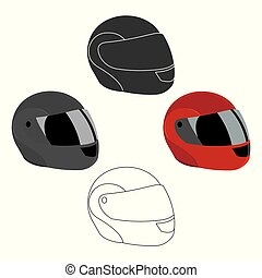 Motorcycle helmet icon cartoon. Single sport icon from the...