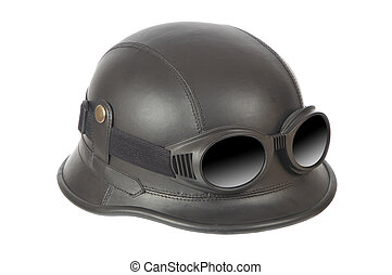 Motorcycle helmet - Old-fashioned motorcycle helmet with...