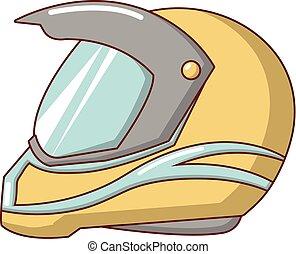 Motorcycle helmet racing icon, cartoon style