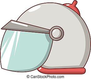 Motorcycle helmet scooter icon, cartoon style