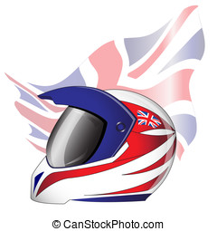 Motorcycle helmet with red, white and blue Union Jack theme...